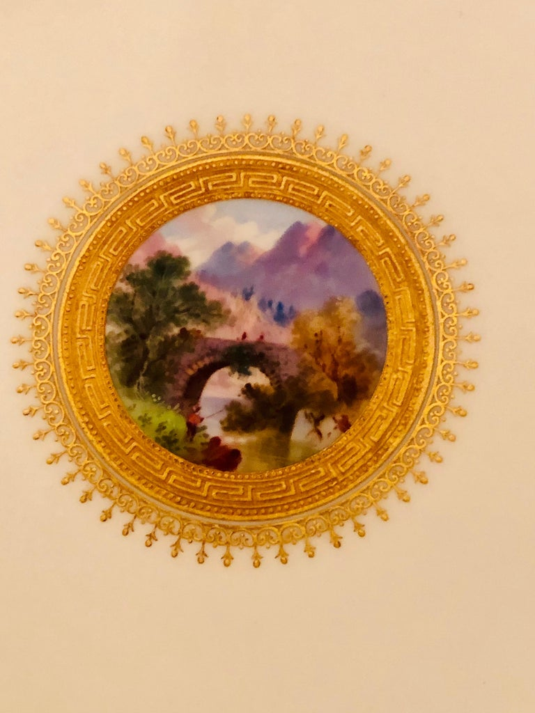 Set of Eight Minton Plates Each Beautifully Hand Painted With a Different Scene For Sale 9