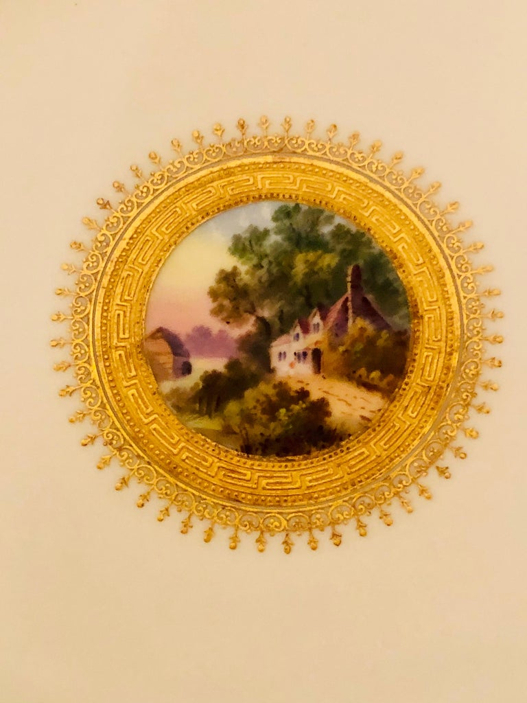 Set of Eight Minton Plates Each Beautifully Hand Painted With a Different Scene For Sale 10