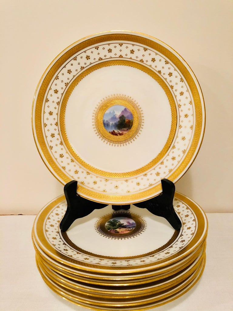 Rococo Set of Eight Minton Plates Each Beautifully Hand Painted With a Different Scene For Sale