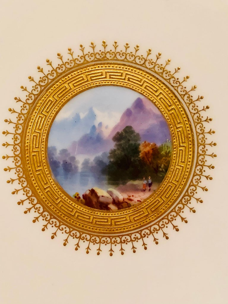 Hand-Painted Set of Eight Minton Plates Each Beautifully Hand Painted With a Different Scene For Sale