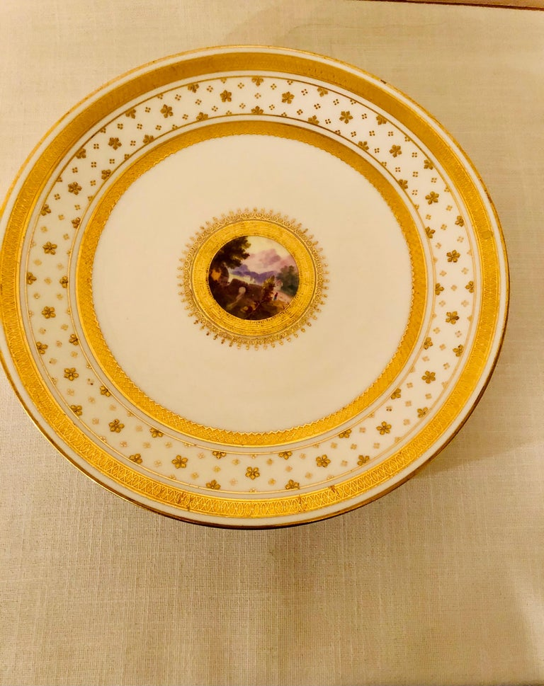 Porcelain Set of Eight Minton Plates Each Beautifully Hand Painted With a Different Scene For Sale