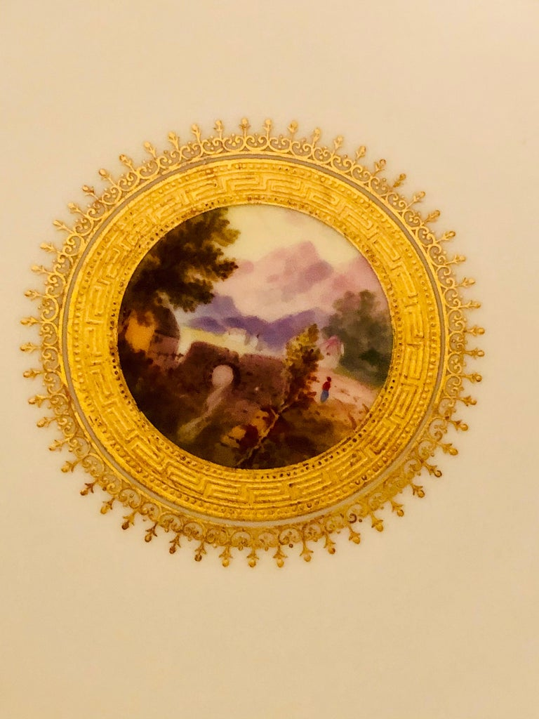 Set of Eight Minton Plates Each Beautifully Hand Painted With a Different Scene For Sale 1