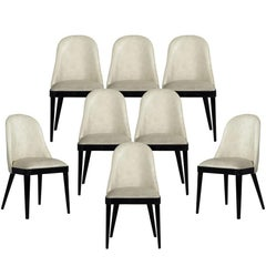 Set of Eight Modern Carrocel Custom Svelte Dining Chairs