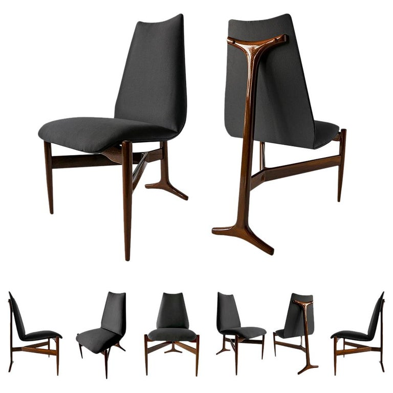 Set of 12 Italian Modern Chairs by Giuseppe Scapinelli For Sale