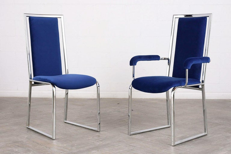 Vintage Set of Eight Modern Dining Chairs In Good Condition For Sale In Los Angeles, CA