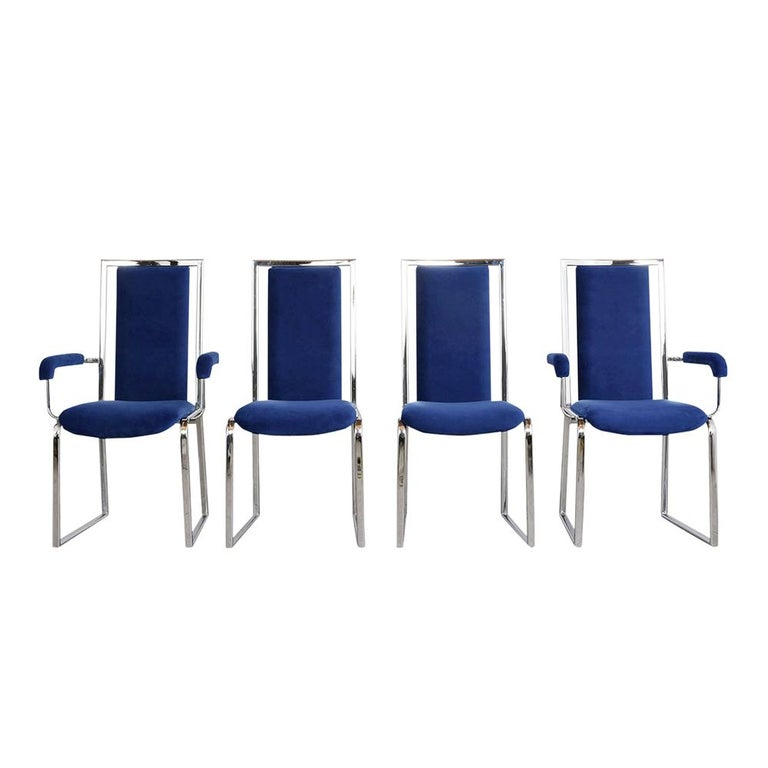This Set of 1980s Modern High Back Dining Chairs features sturdy chrome frames in very good condition and has been professionally restored.  This elegant set comes with four armchairs, four side chairs, and have been professionally reupholstered in