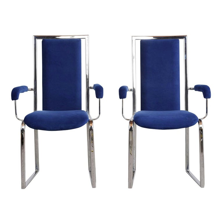 Polished Vintage Set of Eight Modern Dining Chairs For Sale