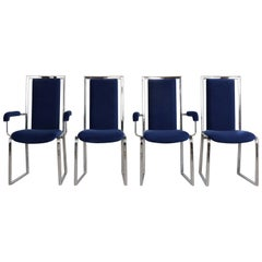 Set of Eight Modern Chrome Dining Chairs