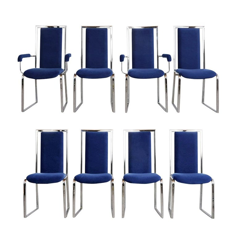 Vintage Set of Eight Modern Dining Chairs For Sale