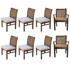 Set of Eight Modern Clean Lined Milo Baughman Style Cane Back Dining Chairs