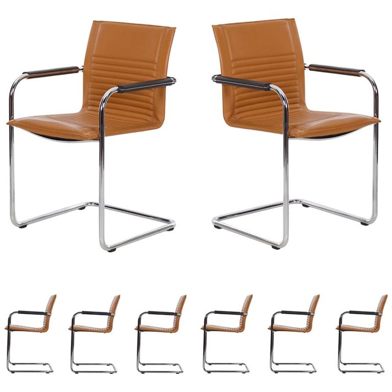 Set Of Eight Modern Leather And Tubular Steel Castelli Chairs By Haworth