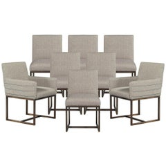 Set of Eight Modern Upholstered Dining Chairs with Brass Accents