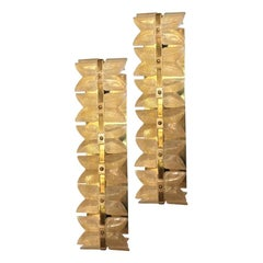 Set of Eight Moderne Gilt and Glass Sconces, Sold Per Pair