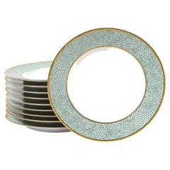 Set of Eight Modernist Turquoise Shagreen & 24kt Gold Dinner Plates by Puiforcat