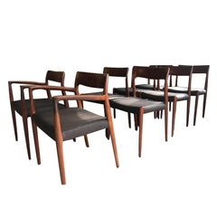 Set of Eight Neils Møller Dining Chairs with Leather Seats
