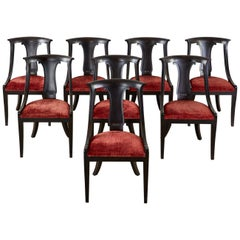 Set of Eight Neoclassical Directoire Style Ebonized Dining Chairs