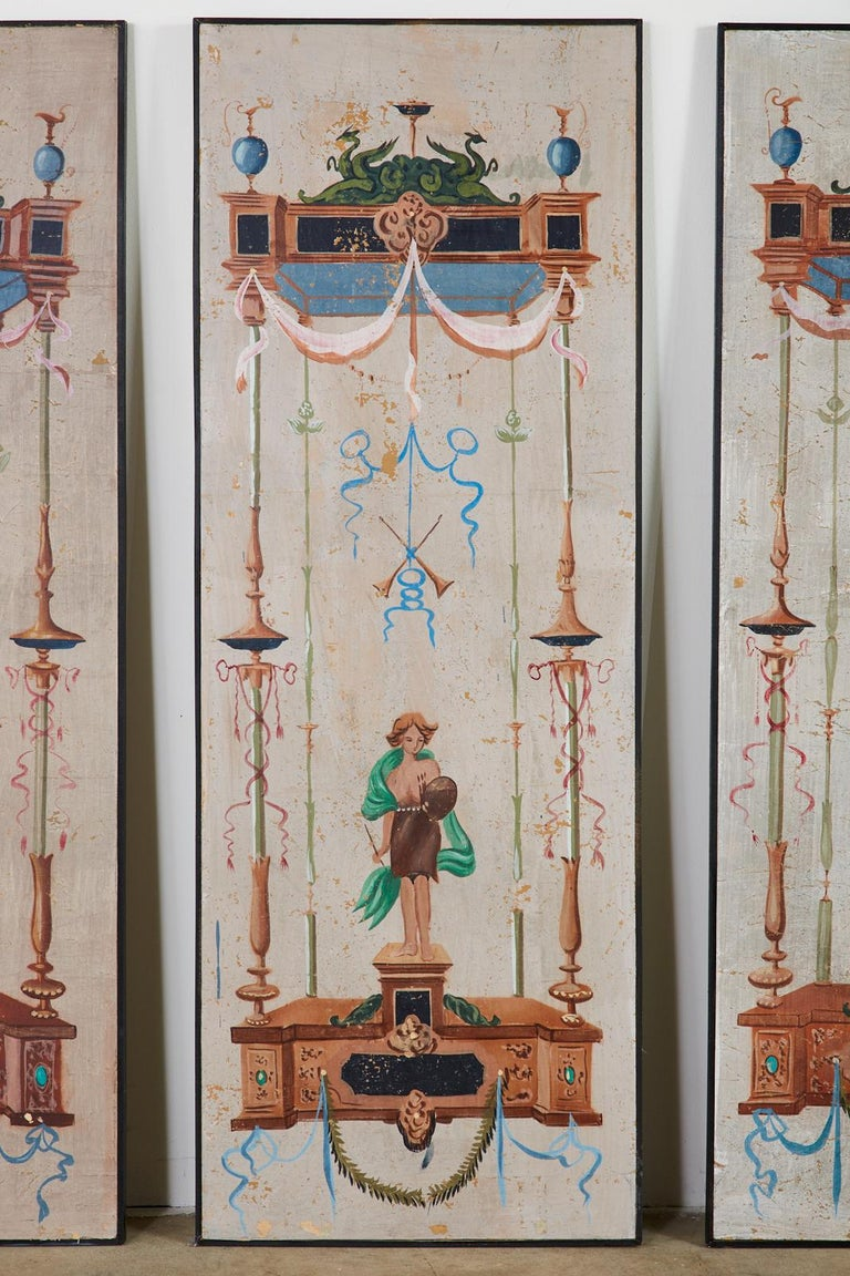 Set of Eight Neoclassical Pompeian Style Painted Wallpaper Panels For Sale 3