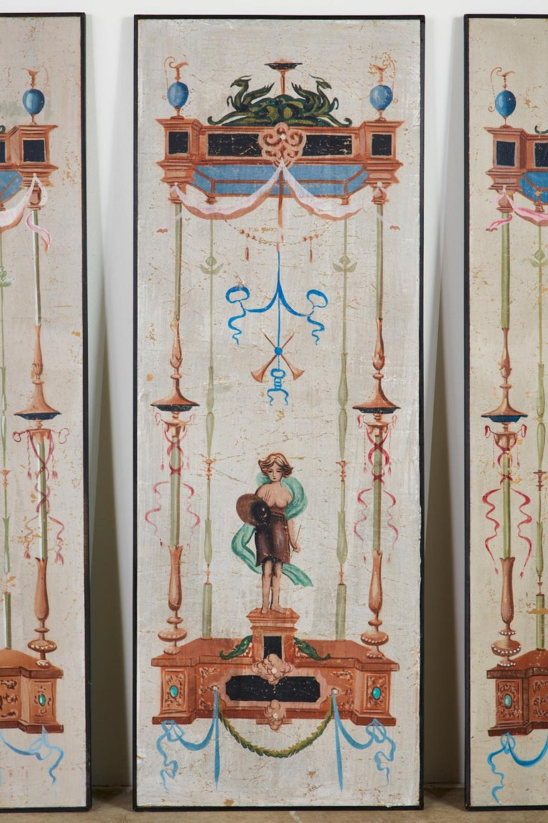 Set of Eight Neoclassical Pompeian Style Painted Wallpaper Panels For Sale 4