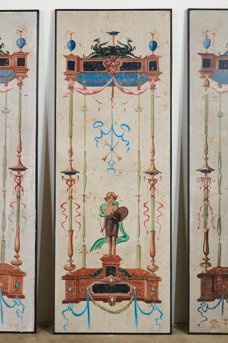 Set of Eight Neoclassical Pompeian Style Painted Wallpaper Panels For Sale 5