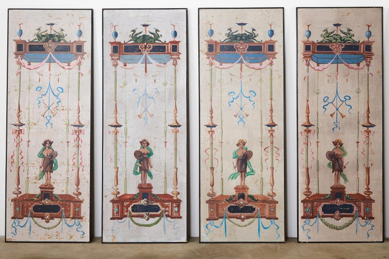 Italian Set of Eight Neoclassical Pompeian Style Painted Wallpaper Panels For Sale