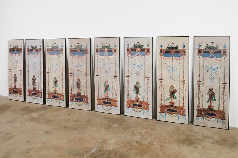 Set of Eight Neoclassical Pompeian Style Painted Wallpaper Panels In Distressed Condition For Sale In Oakland, CA