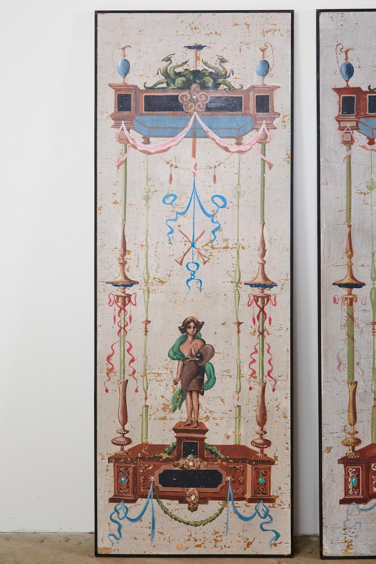 20th Century Set of Eight Neoclassical Pompeian Style Painted Wallpaper Panels For Sale