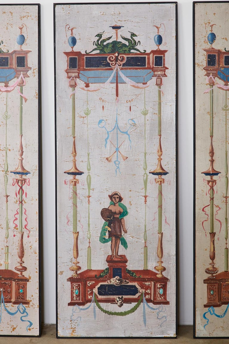 Wood Set of Eight Neoclassical Pompeian Style Painted Wallpaper Panels For Sale