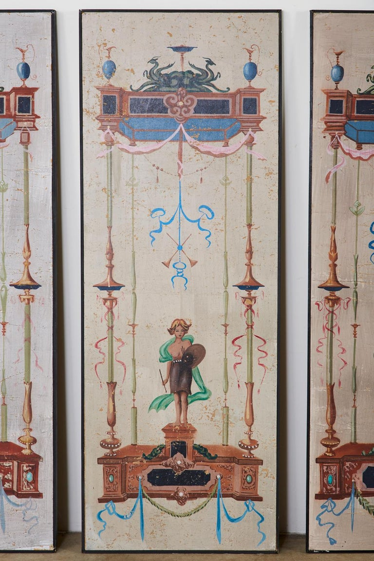 Set of Eight Neoclassical Pompeian Style Painted Wallpaper Panels For Sale 1