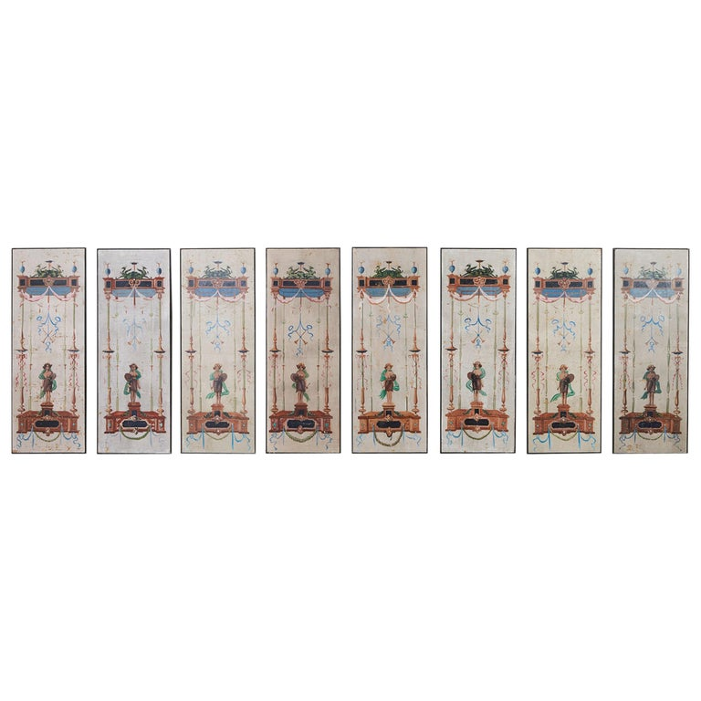 Set of Eight Neoclassical Pompeian Style Painted Wallpaper Panels For Sale
