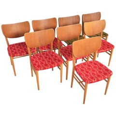 Set of Eight Niels and Eva Koppel Shield Back Midcentury Dining Chairs in Teak