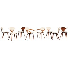 Set of Eight Norman Cherner Dining Chairs, Plycraft, USA, 1960s