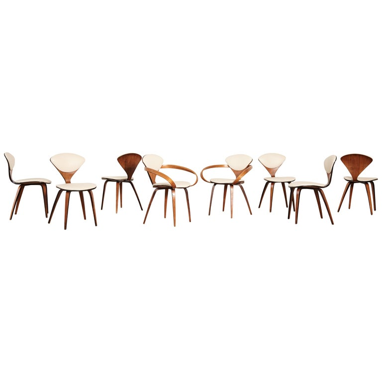 Set of Eight Norman Cherner Dining Chairs, Plycraft, USA, 1960s For Sale