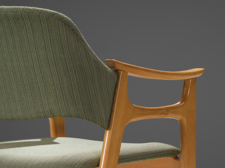 Fabric Set of Eight Norwegian Dining Chairs For Sale