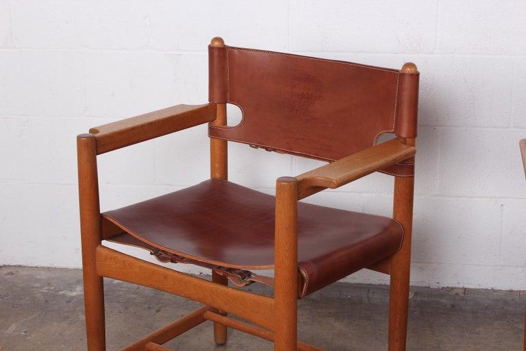 Set of Eight Oak and Leather Chairs by Børge Mogensen For Sale 7