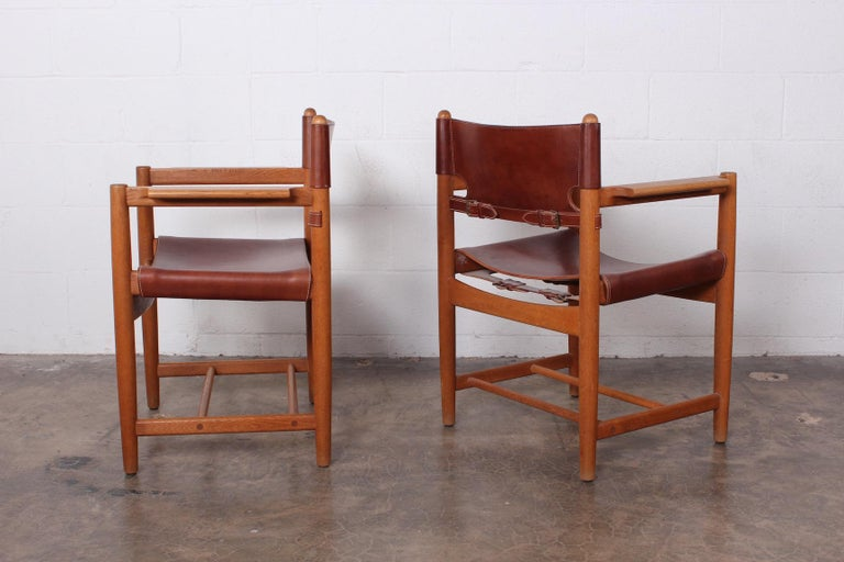 Set of Eight Oak and Leather Chairs by Børge Mogensen For Sale 8