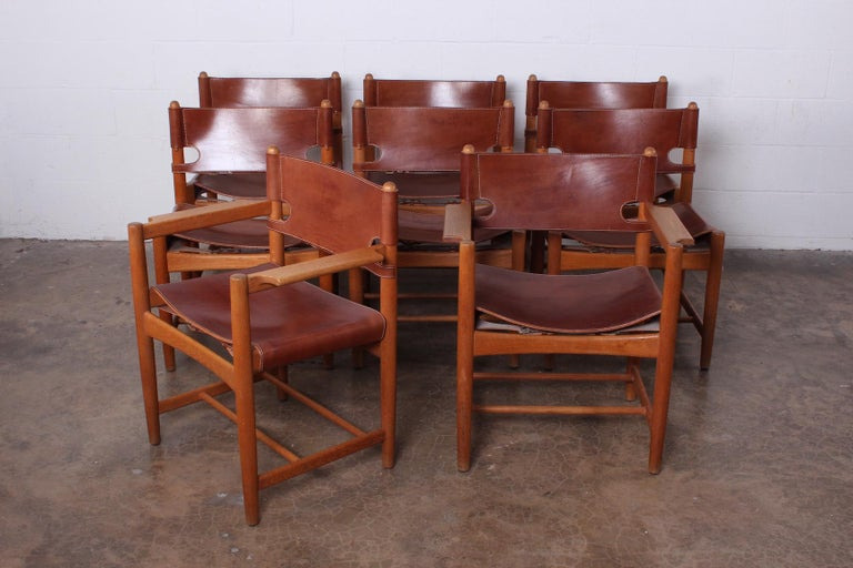 Set of Eight Oak and Leather Chairs by Børge Mogensen For Sale 10
