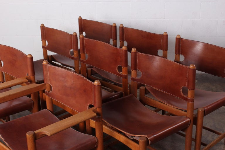 Set of Eight Oak and Leather Chairs by Børge Mogensen For Sale 11