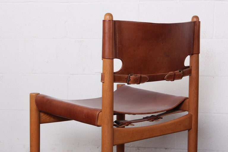 Set of Eight Oak and Leather Chairs by Børge Mogensen For Sale 3