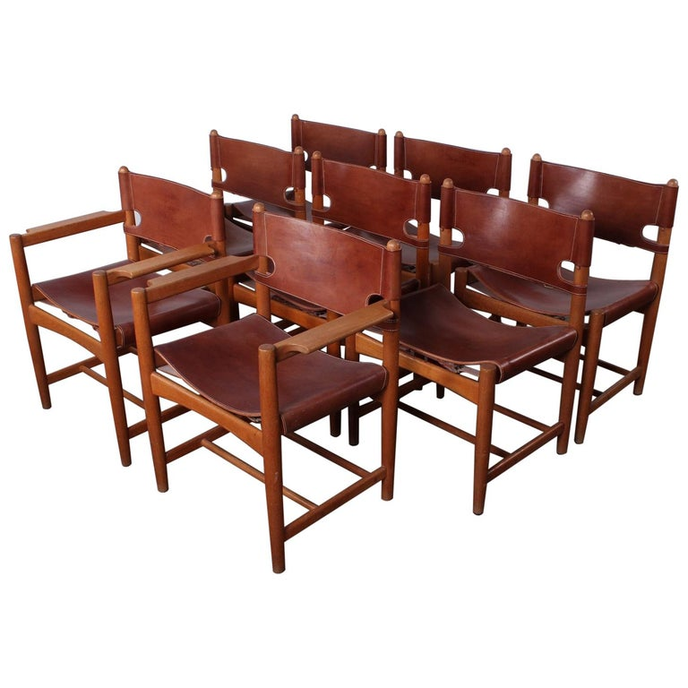 Set of Eight Oak and Leather Chairs by Børge Mogensen For Sale