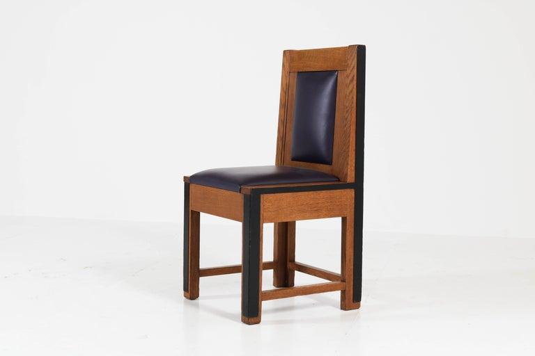 Dutch Set of Eight Oak Art Deco Haagse School Chairs by Randoe Haarlem, 1920s For Sale