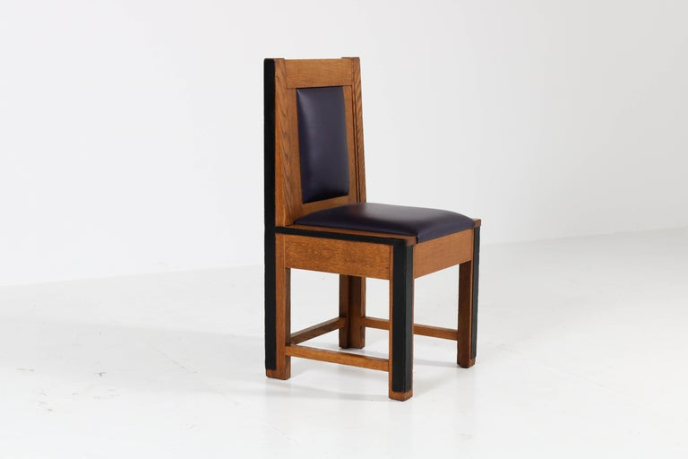 Leather Set of Eight Oak Art Deco Haagse School Chairs by Randoe Haarlem, 1920s For Sale