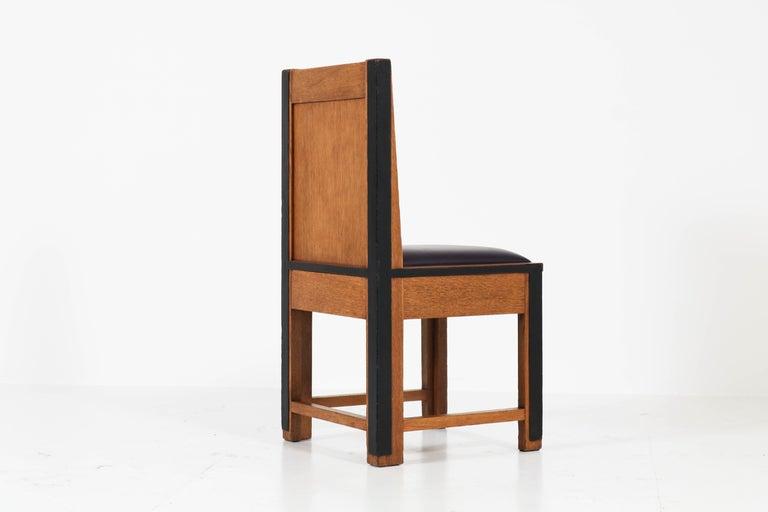 Set of Eight Oak Art Deco Haagse School Chairs by Randoe Haarlem, 1920s For Sale 1