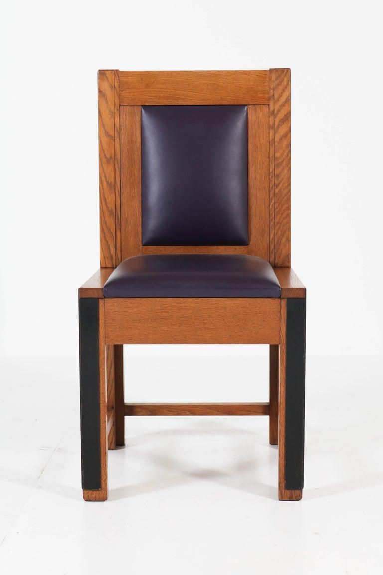 Set of Eight Oak Art Deco Haagse School Chairs by Randoe Haarlem, 1920s For Sale 2