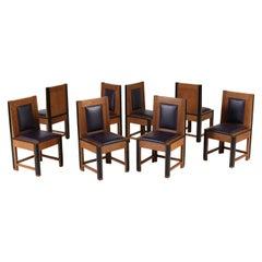 Set of Eight Oak Art Deco Haagse School Chairs by Randoe Haarlem, 1920s