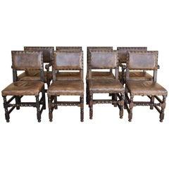 Set of Eight Oak Cromwellian Style Dining Chairs