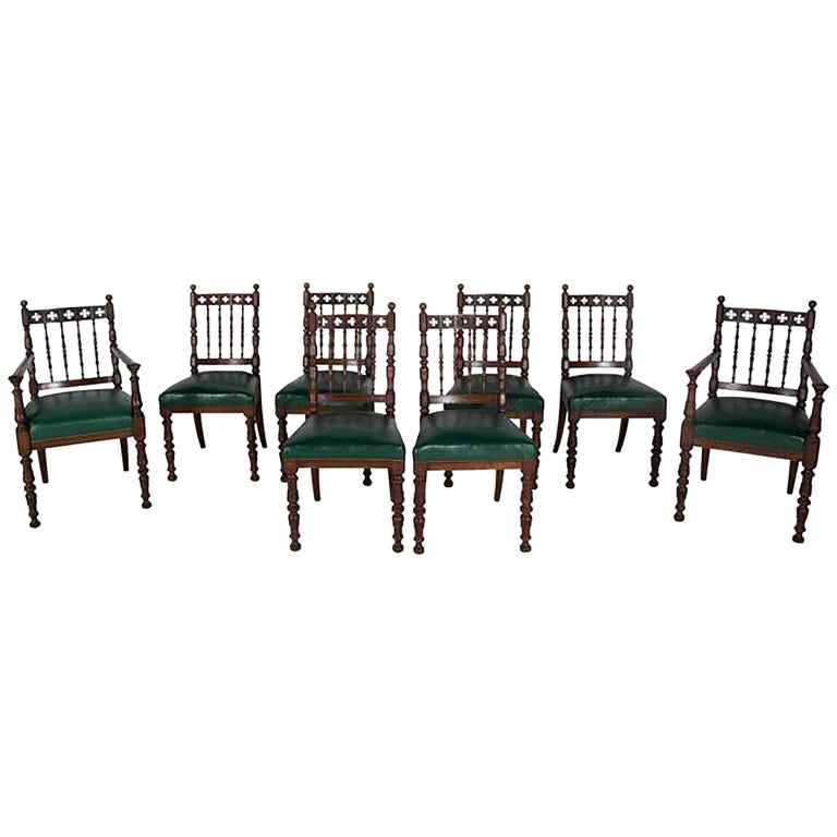 Set of Eight Oak Dining Chairs For Sale