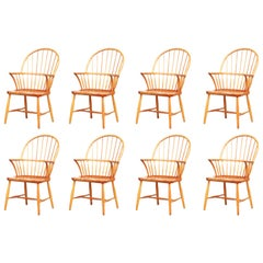 Set of Eight Oak Windsor Dining Chairs by Frits Henningsen 1940s, Denmark