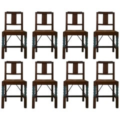 Set of Eight Oak Wood Dining Chairs in the Style of Joseph Savina, France, 1930s