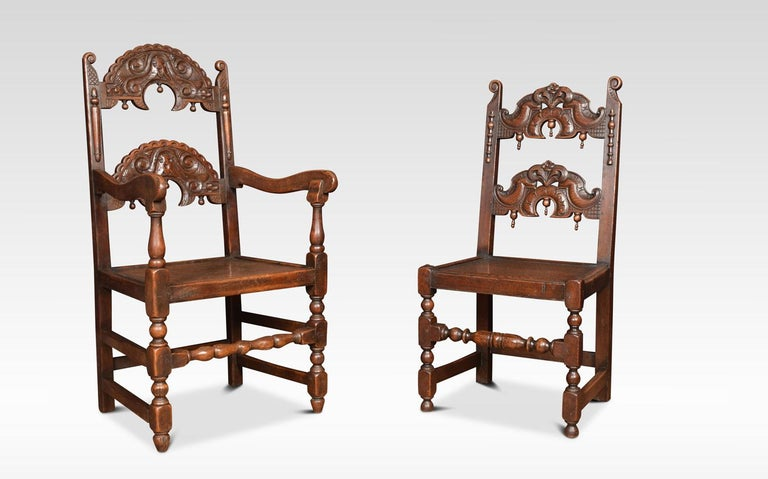British Set of Eight Oak Yorkshire Dining Chairs For Sale