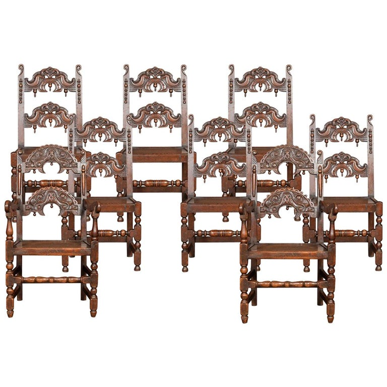 Set of Eight Oak Yorkshire Dining Chairs For Sale